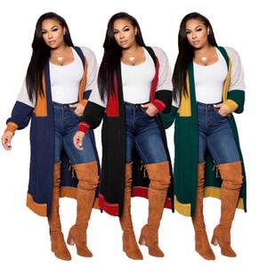 Cor de contraste de malha mulheres cardigan moda outfit manga longa e longo cardigan solto suéter de malha suéter macio outfit kitwear outwear casual