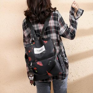 Women Lady Backpack Purse Anti Theft Rucksack Waterproof Oxford Cloth School Bag Nice Oxford Cloth Backpack Without Pendant
