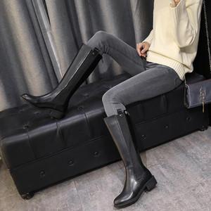 Joelho de alta de mulheres 2020 Inverno New Velvet Curto Altura Mid-Tube equitação Botas Coxa Bota alta Leg Bota Cavaleiro Botas