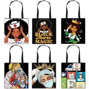 Female nurse pattern folding shopping bag convenient storage bag tote bag large capacity Handbag Totes Storage Gift Bags F111002