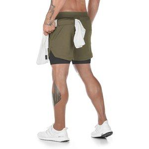 Летние мужские 2 в 1 шорты повседневная открытый свободные короткие брюки мужские бегущие тренировки фитнес шорты карманы модные брюки M-3XL
