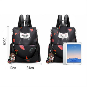 Fashion Women Leather Backpack Cute Cat Anti theft Travel Waterproof Oxford Cloth Backpack Rucksack Shoulder Bags