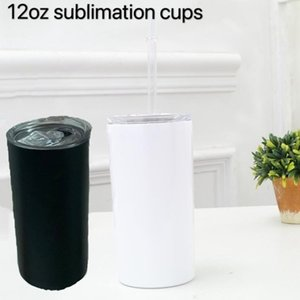 DIY Heat Sublimation 12oz Skinny Tumbler Car cups Stainless Steel slim Insulated Tumbler Straight Cup white Beer Coffee Mugs WY913