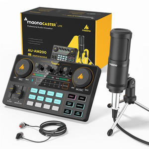 Maonocaster Micro-On-ON Microphone MIX KITS CARDES DE SOUND EXTÉRIEUR INTERFACE AUDIO PODCASTER AVEC Condenser Mic pour Studio Record