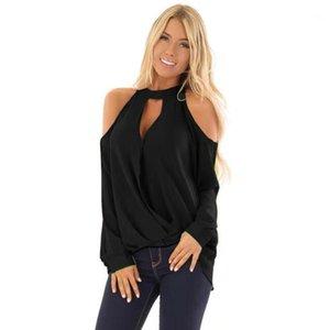 6XL PLUS РАЗМЕР ВЫКЛЮЧЕННЫЙ ПЛЕЧНЫЙ СВЯЗНЫЙ ШИФОН Блузка висит шеи О-шеи тонкие женские блузка сексуальная кнопка с длинным рукавом Tops1