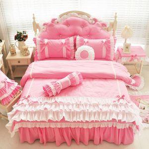 Modern korean 100% cotton bed set pink princess kids girls bedding set twin queen king size duvet cover bed skirt pillowcase