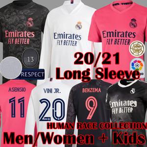 2020 2021 Yeni Real Madrid Uzun Kollu İNSAN YARIŞ TOPLAMA Futbol Formalar Sergio Ramos ASENSIO MARCELO VALVERDE Kadınlar futbol forması Çocuk Setleri