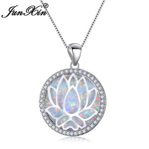 JUNXIN Белый / Blue Fire Opal Круглый Подвеска Hollow Цветок лотоса ожерелье для женщин Мода цвета серебра ювелирные изделия 200928