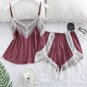 Damen Lace Pyjamas Sets Sling V-Ausschnitt Patchwork Top Aushöhlen Shorts Damen Nachtwäsche