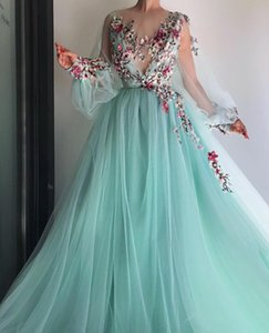 Sexy Paolo Sebastian Hand Made Embroidery Prom Dresses Sheer Jewel Neck Long Sleeve Beaded Soft Tulle Evening Gowns robes de soiree