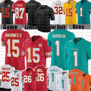 Patrick Mahomes 1 Tua Tagovailoa Le'veon Bell Football Jersey Travis Kelce Clyde Edwards - Helaire 캔사스