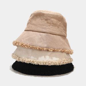 Bucket Hat Winter Damen Fleece-Futter Lammwolle Fischer-Hut Furry Panama Warm Designer-Hut