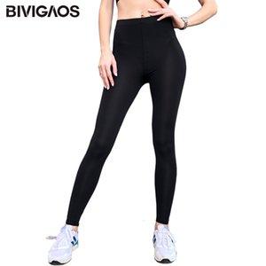 Enfriar Bivigaos nuevo del verano de seda del hielo fino atractivo Negro estiramiento delgado entrenamiento polainas tobillo pantalones legins Mujeres