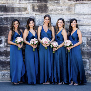 2021 Summer Bridesmaid Dresses Royal Blue A Line Spaghetti Strap Sexy Backless Pleats Split Long Wedding Guest Maid of Honor Gowns