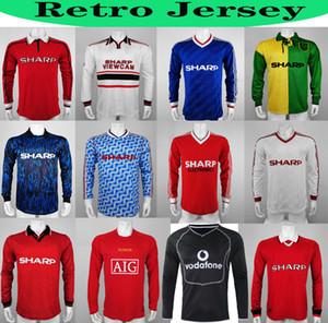 Длинный рукав 07 08 90 92 United Retro UCL Final Match Und Home Manchester 94 98 United Ronaldo Beckham Cantona Keane Scholes Giggs Jersey