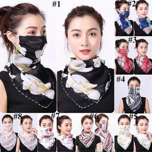 Women Scarf Silk Chiffon Handkerchief Outdoor Windproof Half Face Dust-proof Sunshade Mask Sand-proof Face Towel Neck Scarf GGE2091