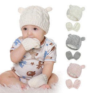Winter Baby Hat Mittens Set Knitted Warm Plush Beanies with Cute Ear Infant Toddler Winter Gloves HHA1640