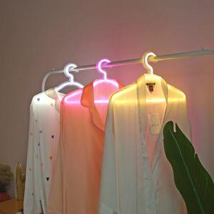 Creative Led clothes hanger neon light Clothes Hangers ins lamp proposal romantic wedding dress decorative clothes-rack T9I00950