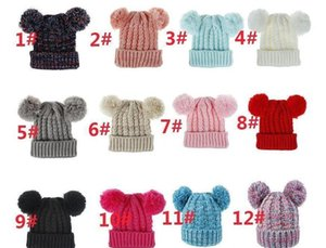 Soft Double Winter Girls Baby Kid Caps 12 Outdoor Hat Pompom Hat Gwe2902 Crochet Ski Warm Colors Knit Balls Beanies sqcFt bdefashion
