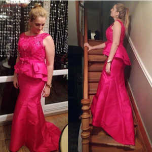 Elegant Fuchsia Mermaid Mother Of The Bride Dresses Plus Size Taffeta Peplumn Wedding Guest Dress 2021 Women Groom Mother Evening Dress