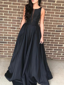 Simple Design Black Prom Gown Fashion A-line Women Long Evening Dress for Special Occasions Custom Made