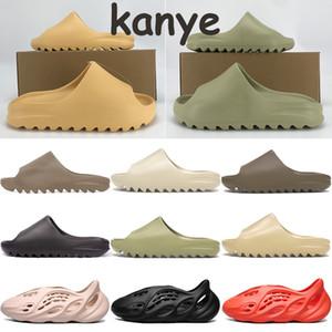 Sapatos deslizantes Kanye baratos homens mulheres chinelos de praia osso branco areia do deserto resina fuligem terra marrom núcleo de espuma corredor tênis triplo preto masculino
