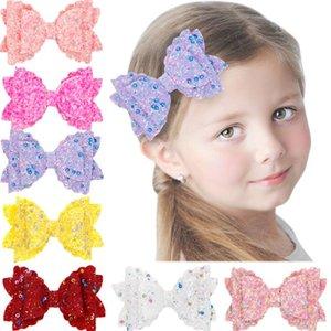Bambini Hairpin Bowknot Glitter Capelli Clip Capelli Ornamento Capelli Paesaggio Bambino stampato Accessori per bambini Paillette Bow Wrap Bordo GWB4349