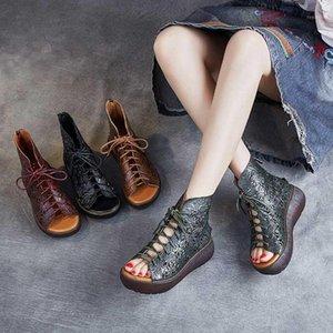 2020 Mujeres Original Vintage Cuero genuino de cuero genuino Botas de Sandalia Romanas Fish Sandals National Sandals Women1