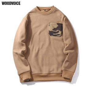 Woodvoice Brand US Euro Size hoodies men hip hop khaki male Sweatshirt O-neck cotton Camouflage pocket design Hoodie for Mens 10