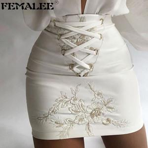 Femalee Beyaz Çiçek Işlemeli Bodycon Etek Zarif Lace Up Gece Out Mini Etekler Kadın Bahar Bandaj İş Giyim Etek Q0119