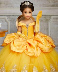 Cristales de encaje amarillo 2021 vestidos de niña de las flores del vestido de Bateau balll Poco vestidos de niña de boda barato del desfile de vestidos de los vestidos de comunión