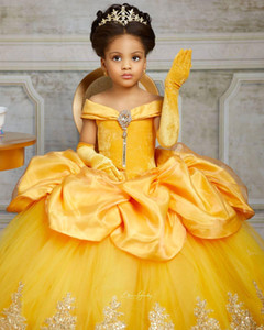 Cristais de renda amarela 2021 Flower Girl Dresses Bateau Balll vestido Pouco vestidos de noiva menina baratos Comunhão Pageant Vestidos Vestidos