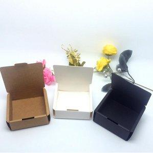 5pcs caixas personalizadas caixa de presente New Kraft Paper Black Box caixas de cartão de embalagem para Handmade Soap Branco pequeno jóias dom