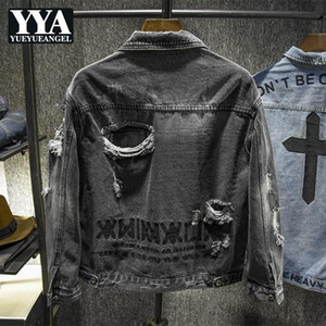 Spring Autumn Mens Slim Fit Long Sleeve Short Coats Korean Back Embroidery Ripped Hole Streetwear Plus Size Male Denim Jackets