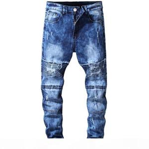 Mens Distressed Ripped Skinny Jeans Fashion Men Jeans Slim Motorcycle Moto Biker Causal Mens Denim Pants Hip Hop Men Jeans