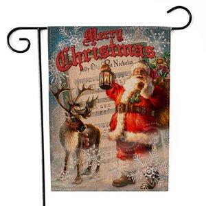 New Christmas Hanging flag Flax Santa Porta Banner Buon Natale ornamento all'aperto ornamento decorazioni natalizie per la casa Capodanno DHA2098