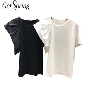 Manga GETSRING Mujeres camiseta de algodón Negro Camiseta Mujeres asimétrica tapa corta blanca fina delgada Ocio Tee Shirts Verano 2020