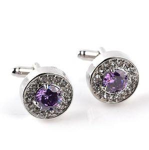 2020 New Hot Classic Luxury Crystal Cufflinks for Mens Shirt Light Purple Zircon Cufflinks High Quality Fashion Swarovski Brand Jewelry Desi