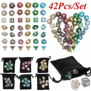 Polyhedral Acrylic 42Pcs Dice Set Board Table Cosplay Games Lovers Gifts Multicolor Dices With Bag For RPG Gaming