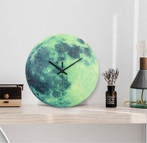 Abstract Moon Luminous Wall Clock 30 cm 2020 New Arrival MDF Wood Circular Quartz Clocks Home Decor Bedroom Decoration Gifts