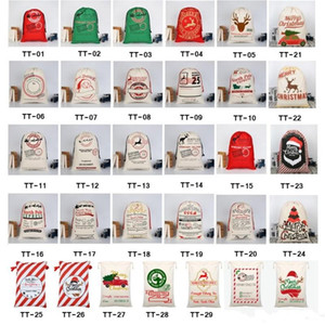 2020 Christmas Gift Bags Large Organic Heavy Canvas Bag Santa Sack Drawstring Bag With Reindeers Santa Claus Sack Bags for kids fy4249