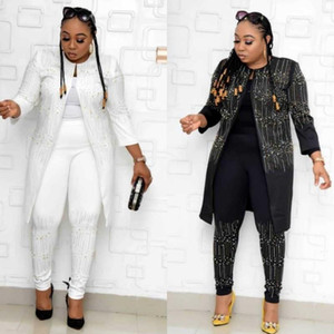 2020 African Sets For Women New Sequined African Elastic Bazin Baggy Pants Rock Style Dashiki Sleeve Famous Suit For Lady