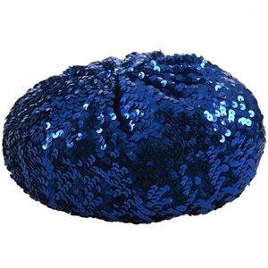 Леди костюм растягивает блестящий блестящий блесток Beret Beanie Hat Blue1