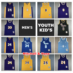 Vintage Herren Jugend Kinder Mitchell Ness Swingman Jersey Schwarz Mamba 33 Abdul-Jabbar 34 34 Nähte Retro Classic Kid Basketball Jersey