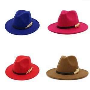 Jazz Formal Hat Panama Cap for Men Women Felt Fedora Hats Winter wide Brim caps Woman Trilby Chapeau Lady headwear Fashion Accessories NEW
