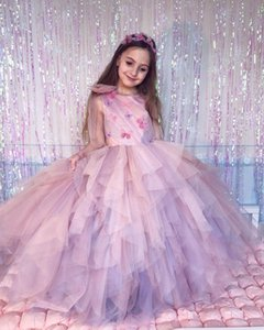 2020 Pink Cheap Flower Girl Dresses Ball Gown Tiers Little Girl Wedding Dresses Cheap Communion Pageant Dresses Gowns