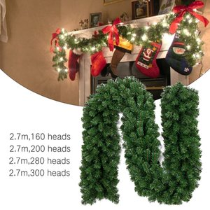 Creative Artificial Green Christmas Garland Wreath Xmas Home Party Decoration Pine Tree Rattan Hanging Ornament For Kids 201028