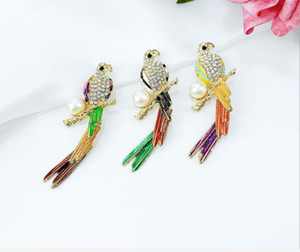 MIX 3kinds Diamond and Pearl Alloy Parrot Brooches For Wedding, Christmas etc
