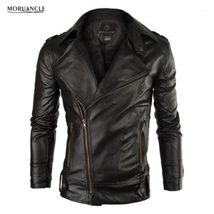 Men's Jackets MORUANCLE Fashion Men's PU Leather Jacket Faux Coat For Male Solid Slim Fit Turn Collar Size M-XXL1