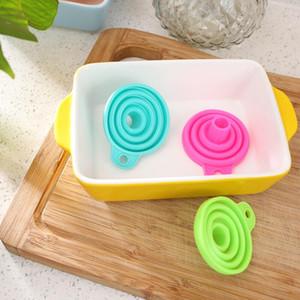 Портативная мини-складная силиконовой воронка цветой воронки Предотвращения разлив жидкость разливочного инструмента принадлежность Главные кухонный инвентарь OWF2150